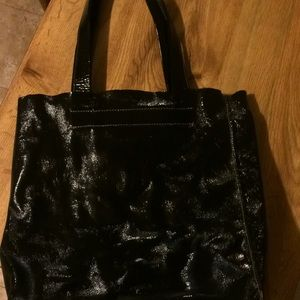 Furla vintage black patent leather shopper tote